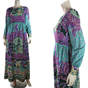 1960's Vintage Colin Glascoe Psychedelic Printed Wool Challis Maxi Dress