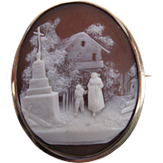 Antique Victorian 14K Gold Scenic Shell Cameo Brooch