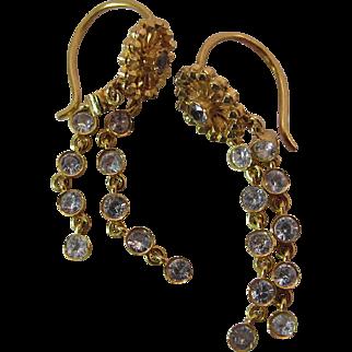 Vintage 14K Yellow Gold White Topaz Dangle Earrings