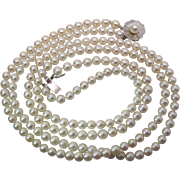 Vintage Retro Era 14K White Gold 2 Strand Cultured Pearl Necklace - 19 1/4-Inches