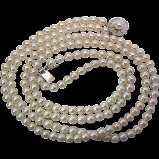 Vintage Retro Era 14K White Gold 2 Strand Cultured Pearl Necklace - 19 1/4-Inches
