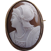 Fine Antique Victorian Carved Athena Cameo Brooch