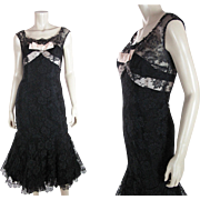 Sultry 1950's Sleeveless Black Lace Fishtail Evening Dress