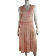"1920's Vintage Embroidered Pink Bohemian ""Peasant"" Dress"