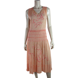"""1920's Vintage Embroidered Pink Bohemian """"Peasant"""" Dress"""