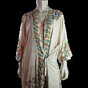 Vintage 1920's Japanese Art Deco Printed Pongee Silk Robe