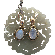 Vintage 10K Gold Moonstone Dangle Earrings
