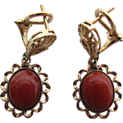 Fine Vintage 14K Yellow Gold Sardinian Coral Dangle Earrings With Omega backs
