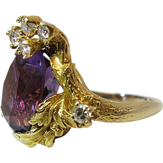 Vintage 14K Yellow Gold Amethyst And Diamond Faux Bois Cocktail Ring