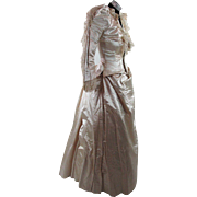 Crisp Antique 1890 Victorian Silk And Lace Wedding Gown With Provenance