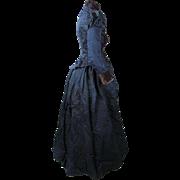 Antique Victorian Navy Blue Silk And Plum Velvet Bustle Dress