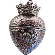 Antique Victorian Silver Puffy Heart Locket / Vinaigrette With Cherubs And Crown