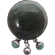 Vintage Mexican Silver And Green Agate Fringed Pendant Brooch