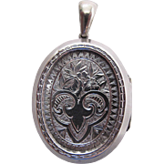 Lovely Antique Victorian Sterling Silver Locket And Bail