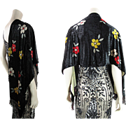 Sumptuous 1920's Art Deco Printed Panne Silk Velvet Shawl With Fringe