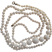 Antique 32-Inch Graduated White Coral Bead Necklace