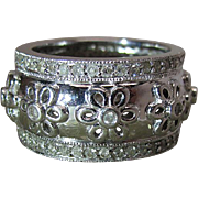 Whimsical 14K White Gold 1/2-Inch Band Style Flower Ring With 1 Carat Of Diamonds