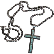 Gilbert Nelson Navajo Turquoise Inlaid Cross On Fabulous 40-inch Sterling Silver Chain