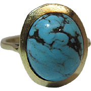 Vintage 14K Yellow Gold Natural Turquoise Ring