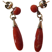 Vintage 10K Yellow Gold Red Coral Dangle Post Earrings