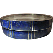 Vintage Pair Of 800 Silver Inlaid Lapis Bangle Bracelets - 8+ Inches In Circumference