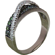 Vintage 14K White Gold Diamond And Green Garnet By-Pass Ring Size 8.75