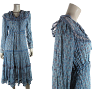 1970's Vintage Interlinks Printed Cotton Gauze Boho / Hippie Dress