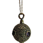 Antique Victorian 14K Gold And Gold Filled Ball Pendant / Fob With Amethyst Pastes