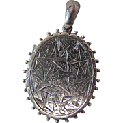 Antique Victorian Aesthetic Movement Sterling Silver Locket With Granulated Silhouette