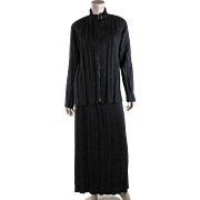 Vintage 1980's Issey Miyake Two Piece Pleated Polyester Ultra-Suede Dress