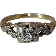 Art Deco Era 14K Yellow And White Gold Diamond Ring