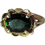 Vintage 14K Gold Green Tourmaline Cocktail Ring