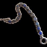 Vintage Sterling Silver And 14 Carat Chalcedony Line Bracelet