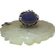 Sumptuous Antique Art Nouveau Sterling Silver And Chalcedony Ring