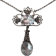 Elegant Antique Arts & Crafts Era Sterling Silver And Rock Crystal / Quartz Pendant Necklace