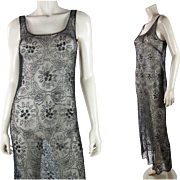 1930's Vintage Beaded Black Sleeveless Evening Dress
