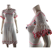 Flirty 1930's Vintage Crochet Lace Dress With Colorful Dangle Ornaments