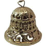 Vintage 14K Gold Reticulated Bell Charm With Three Cultured Pearl Clappers