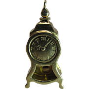 Vintage 18K Gold Mechanical Grandfather Clock Charm