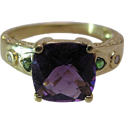 Luminous 18K Yellow Gold Amethyst Tsavorite Garnet And Diamond Ring Size 9 1/2