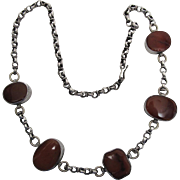 Exotic Vintage 935 Silver Rolo Chain Necklace With Five Large Carnelian Stations
