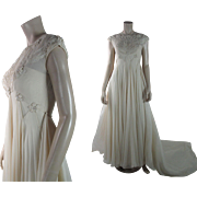 Exquisite 1960's Candlelight Silk Chiffon Wedding Gown With Train And Veil In Fabulous Condition