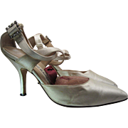 Vintage Manolo Blahnik Candlelight Satin Ankle Strap Pumps With Rhinestone Buckles