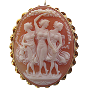 Antique 14K Yellow Gold Pendant Brooch With Beautifully Carved Shell Cameo Of The Three Graces