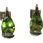 Stylish Modernist 14K Yellow Gold Pear Shaped Peridot Post Earrings