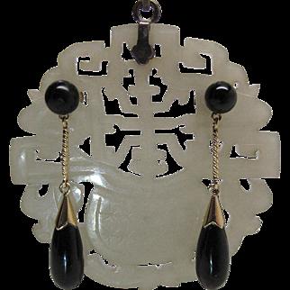 Elegant Vintage 14K Yellow Gold Black Onyx Dangle Earrings