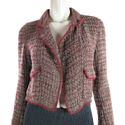 1980's Vintage Chanel Heather Gray And Cranberry Boucle Jacket