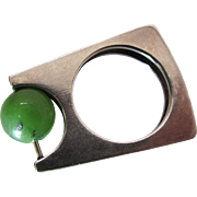 Mid Century Modernist Sterling Silver And Green Jade Ring