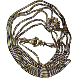 Antique 56 Inch Gold Filled Guard / Slide Chain Necklace With Hand Bail & Swivel Clip