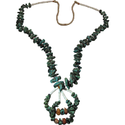Vintage Squaw Wrapped 39 1/2-Inch Navajo Turquoise, Orange Alabaster & White Heishi Necklace with Jaclas